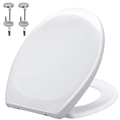 Toilettendeckel, WC Sitz aus Harnstoff-Formaldehydharze, Absenkautomatik, Quick-Release Funktion für leichte Reinigung, O-Form Klodeckel, mit Edelstahl-Befestigung
