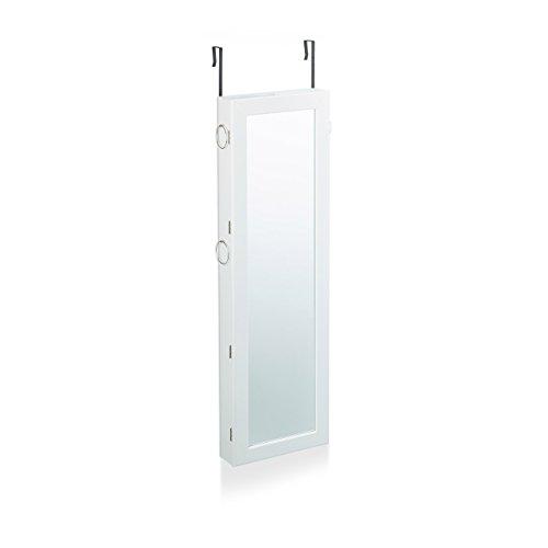 Relaxdays Schmuckschrank mit Spiegel abschließbar, Spiegelschrank groß hängend für Tür, HxBxT: 120 x 38,5 x 10 cm, weiß - 2