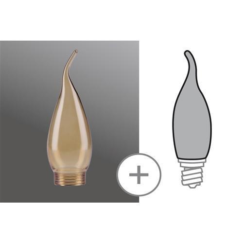 Verrerie en forme de flamme ambrée pour base halogène E27/E14 ou B22