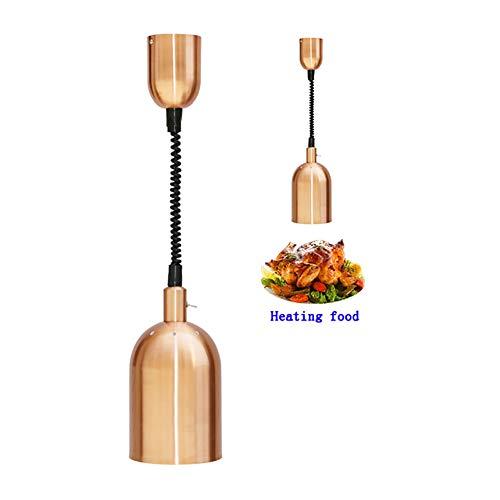 ierte Teleskop-Lampe zum Erwärmen von Lebensmitteln - Buffet Grill Warmer Lamp - Leichter Kronleuchter - für Restaurants und Küchen,Rosegold ()