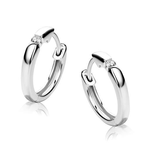 Orovi Pendientes Señora aros en Oro Blanco con Diamantes Talla Brilla