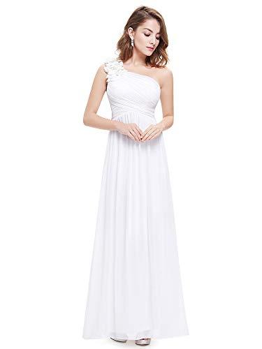Ever-pretty vestito da sposa donna chiffon a fiori una spalla stile impero senza maniche bianco 42