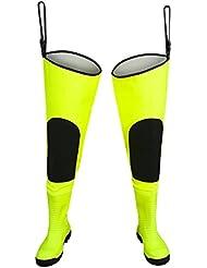 watstiefel Fluo fluorescente Acero Tapa entresuela de acero y Pesca Pantalones Hi Vis, color amarillo fluorescente, tamaño 44 - 10.5 UK (29cm)