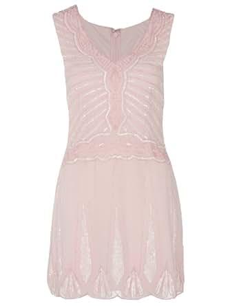 Nude Pink Sequin Flapper Dress