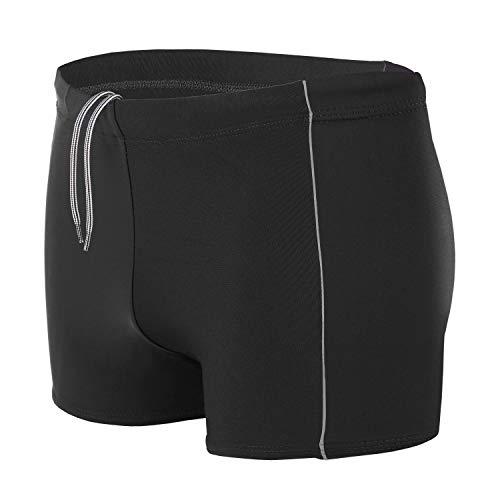 Aquarti Maillot de Bain pour Homme Boxer Shorts, Noir/Gris, L (Taille env. 92 cm)