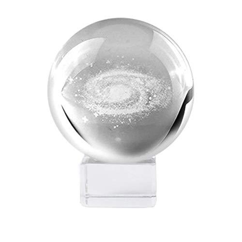 XZANTE 6Cm Durchmesser Globus Milchstra?e Miniaturen Kristallkugel 3D Gravierte Quarz Glaskugel Kugel Dekoration Zubeh?r Geschenke + Kristall Basis - Quarz-kristall-globus