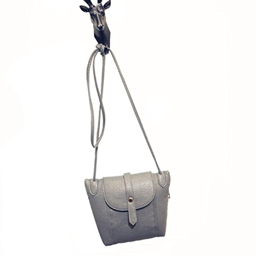 kingko® Mode féminine en cuir Sac à main épaule Cross Body Messenger Bag Gris
