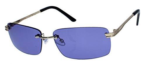 amashades Vintage Classics Schmale randlose Sonnenbrille Damen Herren Designer Stil Metallgestell RW78 (Gold/Lila)