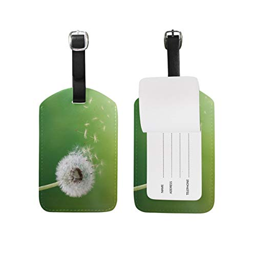 Blue Viper Dandelion Fly Green Background PU Leather Luggage Tags Personalized 1 Piece Set -