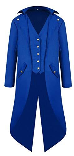 Blauer Kostüm Frack - LCXYYY Herren Gothic Mittelalter Mantel Vintage Frack Jacke Schwalbenschwanz Gothic Victorian Kleid schwarz Steampunk Coat Uniform Kostüm Vampir Cosplay Verkleidung