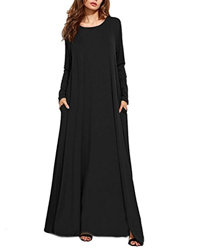 Kidsform Women Maxi Dress Long/Short Sleeve Baggy Ball Gown Solid Pocket Party Long Dresses Kaftan