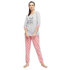 ZEYO Women's Cotton Grey Floral Print Stylish Night Suit