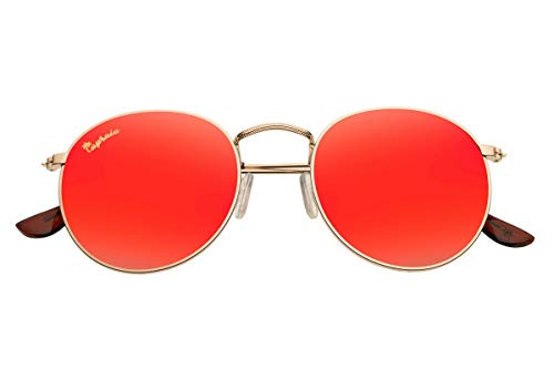 Capraia Bellone Cool Round Festival Sunglasses High Quality Golden Metal Frame and Red Mirrored Polarised Lenses UV400 protected Mens Womens