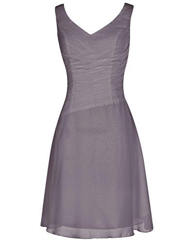 Find Dress Robe de Cocktail Longue pour Mariage/Soirée pour Femme Ronde Rétro Vintage Robe de Gala Gown Anniversaire Wedding Dress Taille Personnaliser Mousseline Gris