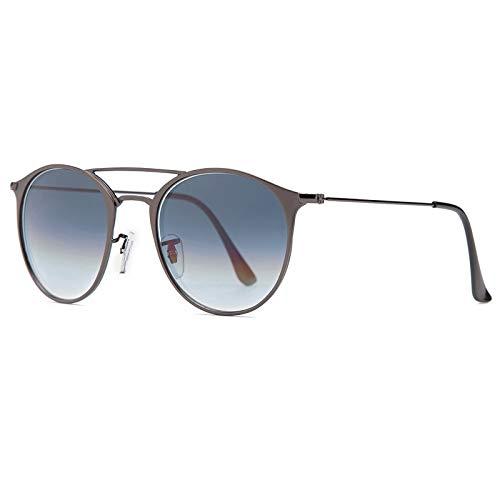 TJTYJ Fashion Outdoor Driving Uv400 49Mm Round Glasobjektiv Doppel -Brücke Sonnenbrillen Für Männer Und FrauenGrau Verlaufend