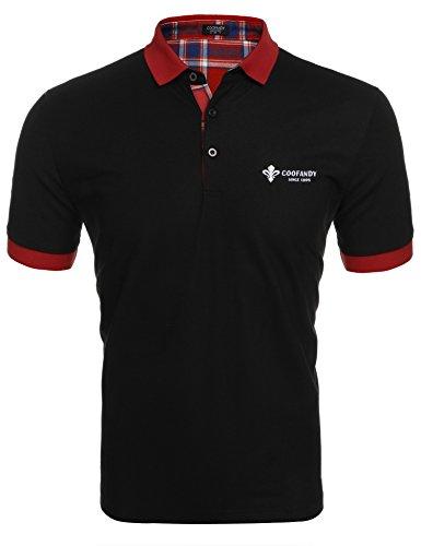 Weißes Rugby-shirt (COOFANDY Herren Poloshirt Kurzarm Einfarbig Sommer T-Shirt Men's Polo Shirt(Schwarz,XXL))