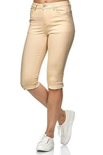 Damen Capri Jeans 3/4 Stretch Bermuda Shorts Big Size Hose, Farben:Beige, Größe Damen:44 / XXL -