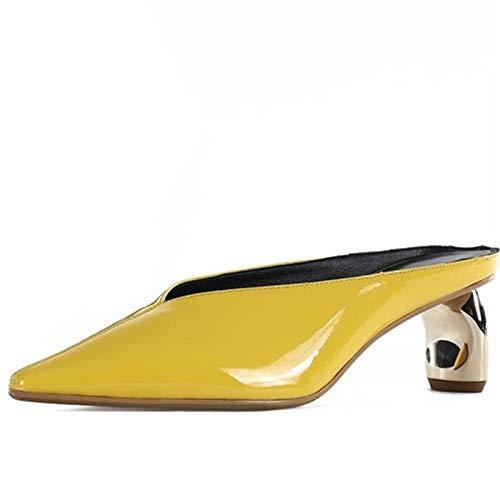 LFDGGX Scarpe da Cucito Moda Donna in Pelle concisa Bianco Stile Strano Scarpe con Tacco Alto Donne Décolleté 38 Yellow