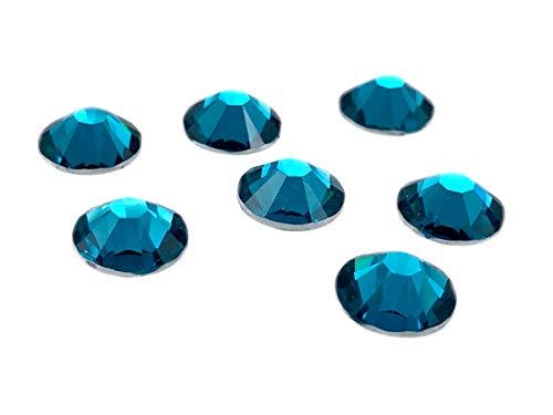 EIMASS® Kunstharz No Hot Fix Kristalle Kleber auf flacher Rückseite folierte Edelsteine Harz Strass, Blauer Zirkonia, 6.5mm (1440 Crystals) (Edelsteine Rückseite Flache Blaue)