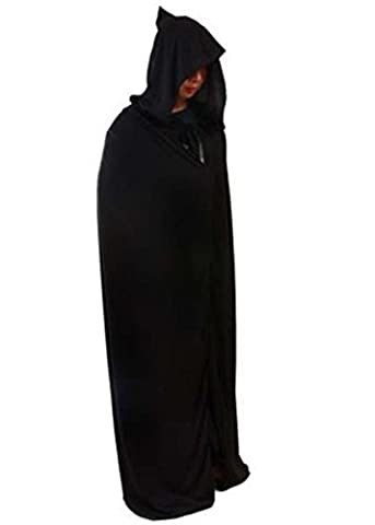 Young Halloween Cape for Adults Black Hooded Cloak Friar Medieval Hooded Monk Renaissance Priest Robe Costume Cosplay (