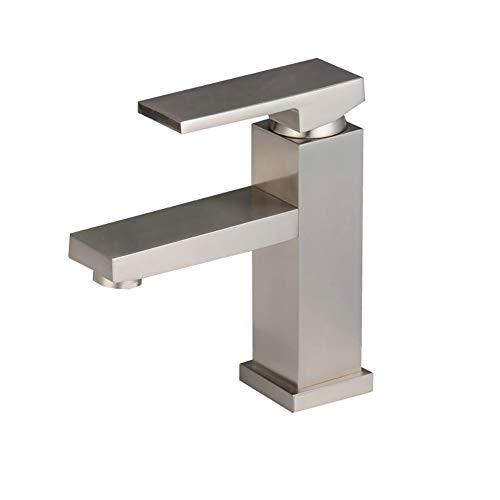 Damlou Einlochmontage-Wasserhahn, Einhand-rechteck-Wasserhahn Mit 2 Versorgungsschläuchen, Chrom/Nickel Gebürstet,BrushedNickel (Zwei Top Vanity Waschbecken)