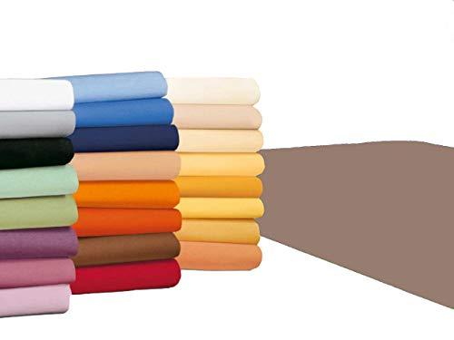 badtex24 Spannbettlaken 90 100 x 200 Spannbetttuch Bettlaken Jersey 100% Baumwolle 24 Farben Nougat/Taupe 90x190-100x200cm