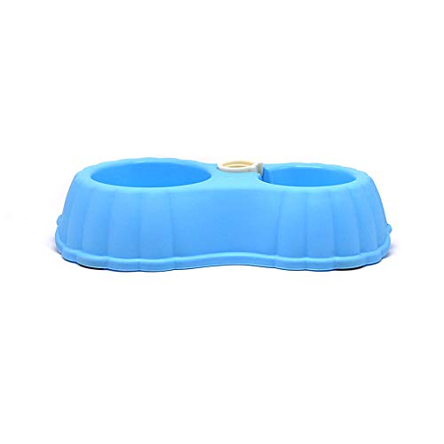 GUOKAIXU Plastikhaustierschüssel, Die Trinkende Doppelte Schüssel-Nahrungsmittelzufuhr-Automatische Wasser-Flaschen-Kürbis-Rutschfeste Hundeschüssel,Blue,6.8 * 31