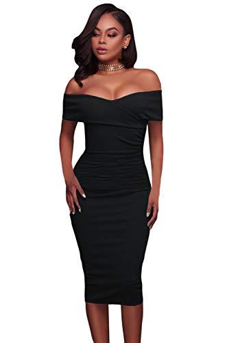 MENSDXA Kleiden Art Und Weise Neues Temperament-Normallack-Kleid-Rock-V-Ansatz Trägerloses Kurzärmliges Dünnes Kleid Mlc-2 - Mlc Tasche