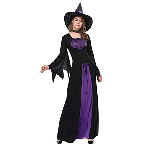 Witch Pretty Girls Kostüm - SilenceID Damen Halloween Kostüm Vintage Hexe Halloween Cosplay Party Langarm Maxikleid Halloween Gothic Kleid