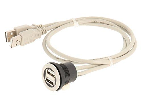Mazo 23.001.550doble puerto USB hembra de acero inoxidable con parte delantera, 2x...