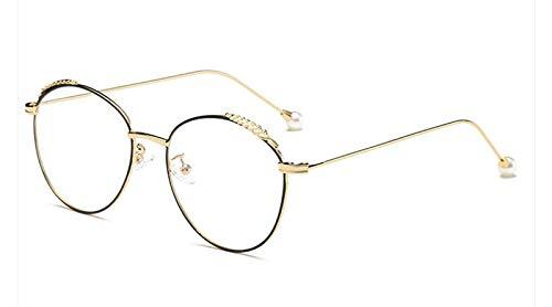 TYJMENG Sonnenbrillen Dekoration Frauen Runde Metall Brillengestell Anti Allergie Tipps Mode Perle Zubehör Männer Myopie Brillenfassungen, Gold Schwarz W Klar