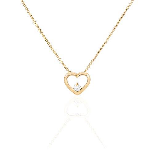 """You.Me.We. - Anhänger Mit Halskette """"Stoneheart"""" - Herz und Zirconia - 18 Karat Vergoldet 3 Mikron - Romantisches Geschenk Damenschmuck"""