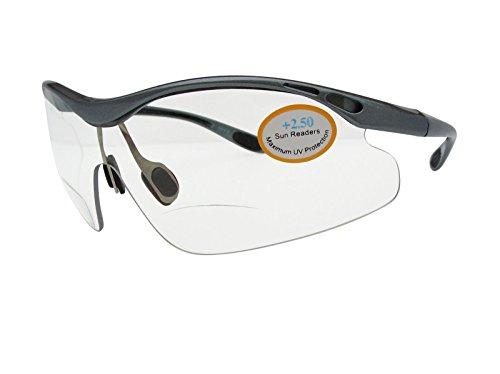 Bifokal Radfahren Sport Wrap klare Gläser High Impact Integral Objektiv 100% UV-101+ 2,00