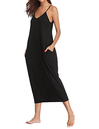 Aibrou Damen Baumwolle Lose Lange Nachthemd mit Verstellbare Träger Schwarz L