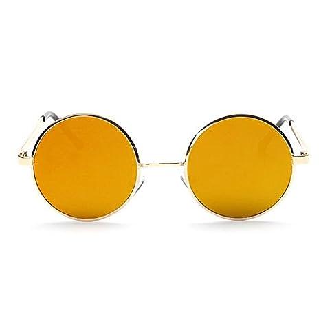 Z-P Unisex Vintage Round Metal Frame Plane Color Membrane Lens Geek Sunglasses UV400 (Lens Lente Pieghevole)