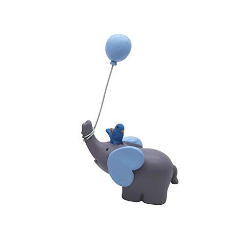 YeahiBaby Beau ballon éléphant poupée résine coeur gâteau ornements petites décorations Dessert de table pour la fête de mariage (bleu ciel)