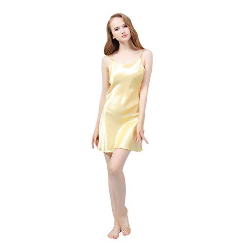 VANSILK 19mm 100% Soie Femme Chemise de Nuit Sexy Nuisette Bretelles Reglables Pure Douceur Robes Peignoir Or