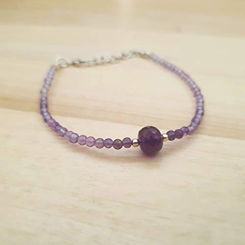 Natürliche Amethyst Rondelle Runde Perlen Armband Sterling Silber 6,50