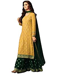 Mahantam Designer Wonderful Yellow And Green Colored Designer Wedding Wear Georgette Sharara Style Salwar Suit