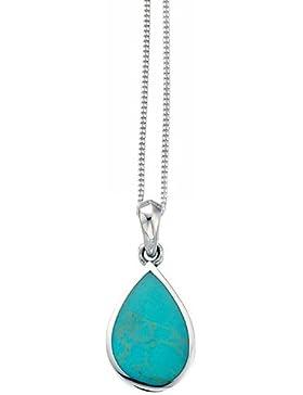 Elements Silver Damen-Halskette mit Tränenanhänger Sterlingsilber (925) Türkis 41-46cm