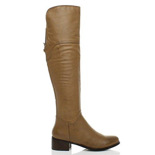 Donna tacco medio blocchetto con cerniera stivali alti al ginocchio taglia Marrone