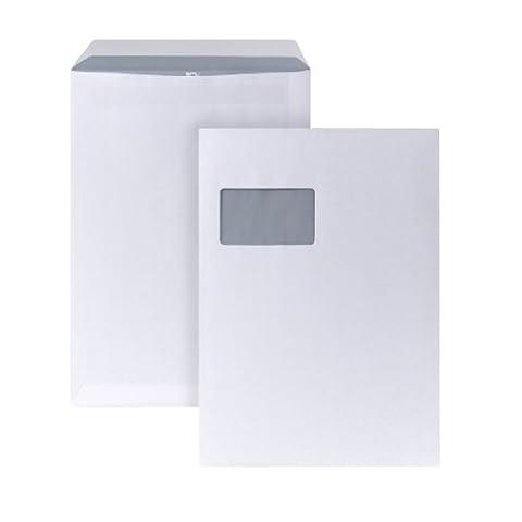 POSTHORN 05270477 Versandtasche mit Fenster, selbstklebend, 250 Stück, C4, 229 x 324 mm, 90 g, weiß