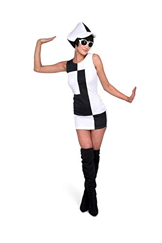 Karnival 81232 1960 's Monochrome Girl Kostüm, Frauen, Schwarz, Medium