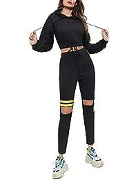 Leisure Suit Donna Hoodie E Pantaloni Due Pezzi Set Sportivo Autunno Moda Tute  Sportive Casuale Donne Manica Lunga Senza Ventre… c1446826fab