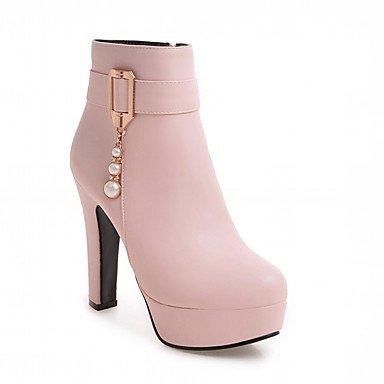 Rtry Femmes Chaussures Pu Leatherette Automne Hiver Confort Nouveauté Mode Bottes Bottes Chunky Talon Bout Rond Bottines / Bottines Imitation Perle Pour Us8.5 / Eu39 / Uk6.5 / Cn40
