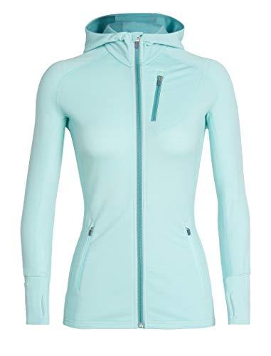 Icebreaker Damen Quantum Long Sleeve Zip Hood Jacke, Aqua Splash/Ocean, M -