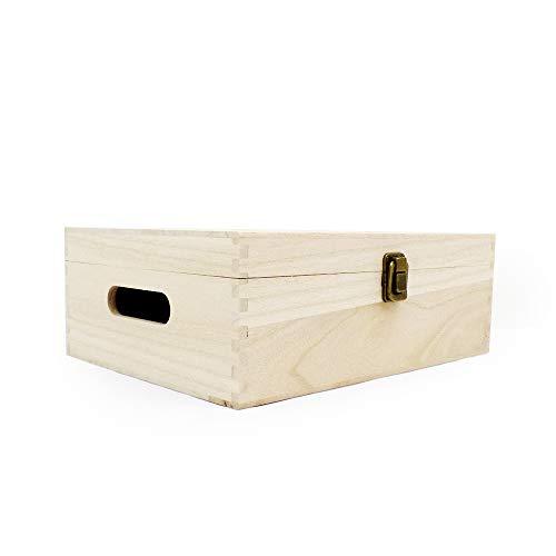 Boîte de rangement en bois non vernies – – 300 x 230 x 115 mm
