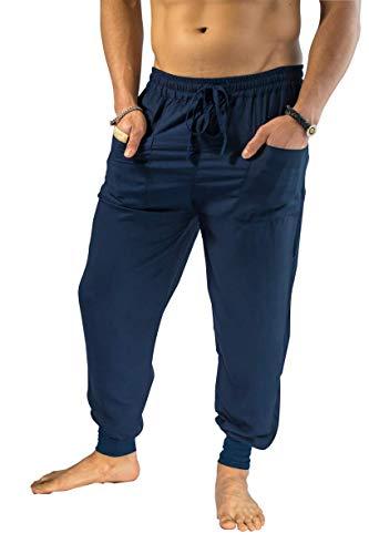 PIYOGA Herren Jogger Hose Slim Fit, Yoga, Casual (Adjustable Us M 30-34) - Joggers Streckt S bis L (30-34) Dunkelblau
