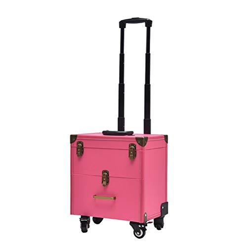 Trolley Malette maquillage Beauty case Type de tiroir professionnel multi-couche Type Large vanity Case Capacité Boîte de rangement pour les ongles Tattoo Toolbox,Pink
