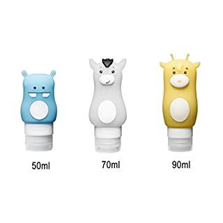 Addfun reg;Cartoon Portable Leak Proof Soft Silicone Travel Bottles Leak Proof Design BPA Free for Cosmetics Lotion Shampoo Bath Container(Set of 3)